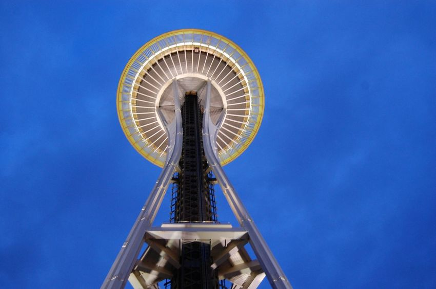 Blue No People Outdoors Sky Low Angle View Seattle Space Needle Seattle building architecture Dusk Dusk In The City