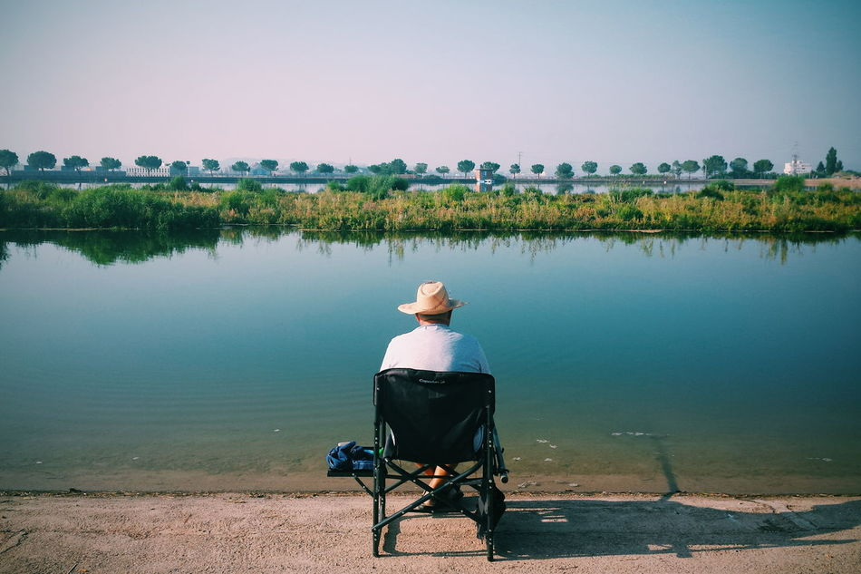 Beautiful stock photos of fishing, Chair, Clear Sky, Copy Space, Day