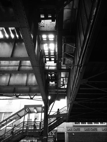 Babel Architecture Built Structure Low Angle View Illuminated Building Exterior The Way Forward Building Story Narrow Modern City Life Elevated Walkway Industrial Building  Steps And Staircase No People NYC Street Photography New York City EyeEm Best Shots - Black + White Black And White EyeEm Best Shots Everybodystreet This Week On Eyeem Shootermag