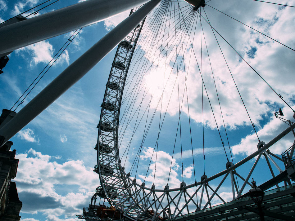 Amusement Park Arts Culture And Entertainment Big Wheel Cloud - Sky Day Ferris Wheel Leisure Activity London London Eye Low Angle View No People Outdoors Sky