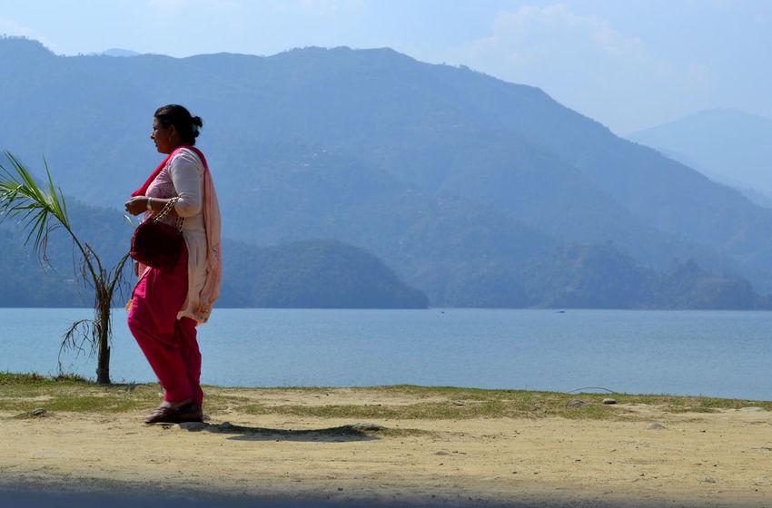 walking by the Phewa Lake One Person Woman Local Woman Pokhara, Nepal