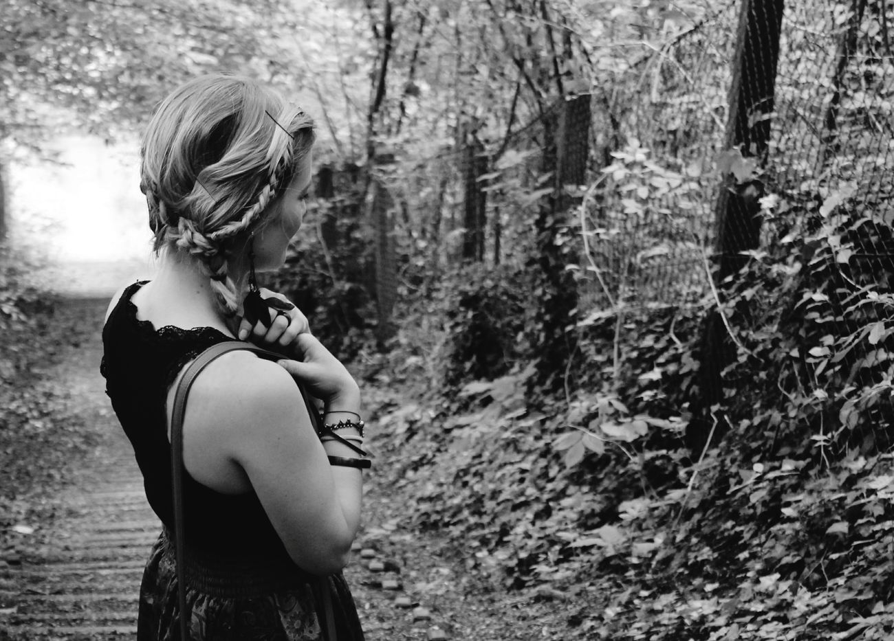 Me Myself Blackandwhite Blackandwhite Photography Black And White Portrait Forest Braids Braided Hair Braid Hair Forest Photography Forest Path Germany Girl