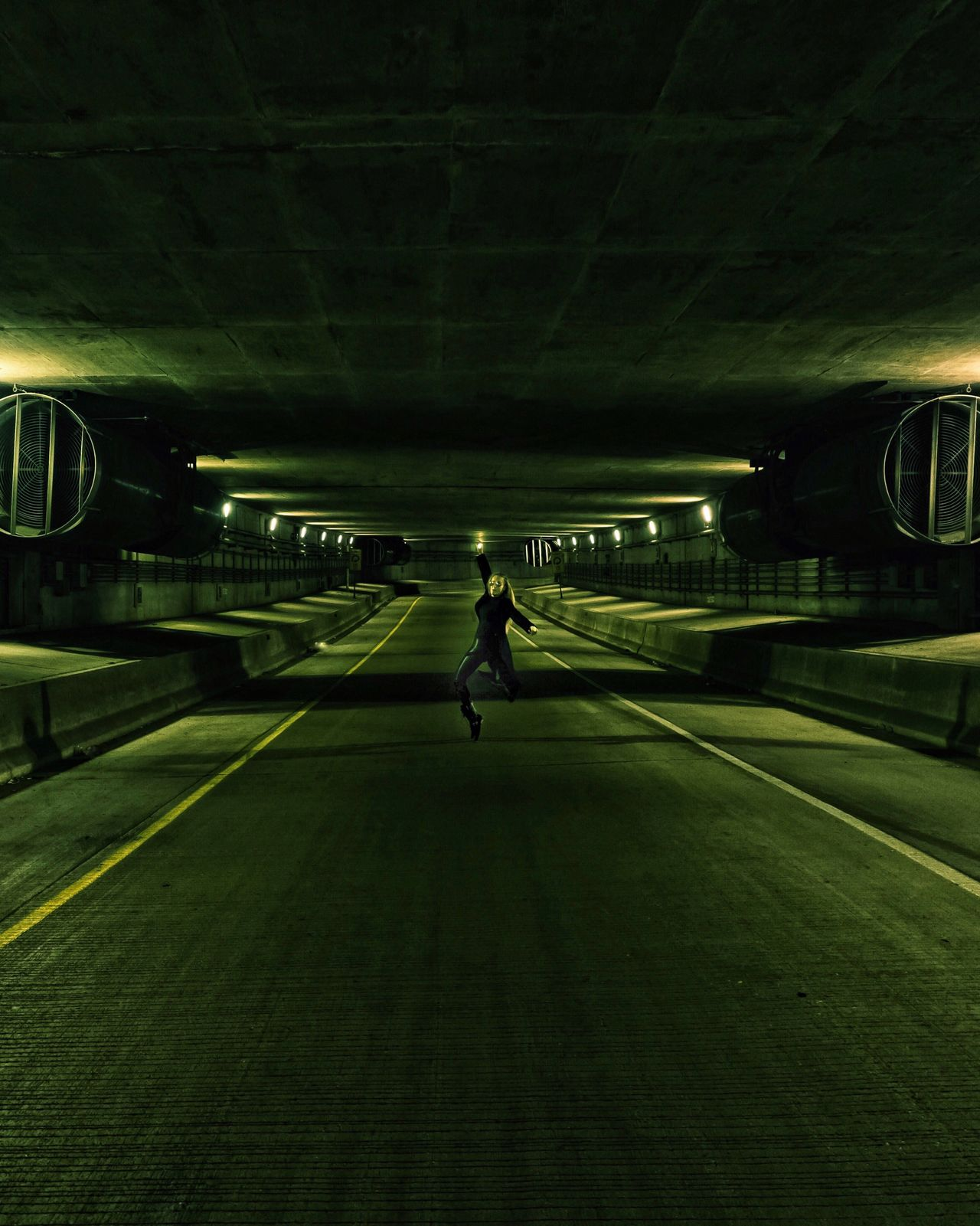 Full Length One Person Standing Underground Tunnel The Matrix Is Everywhere The Matrix Trinity Illuminated Chicago Cinematic Science Fiction