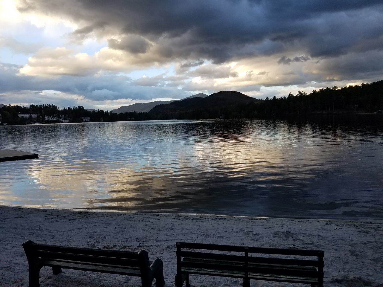 Water Cloud - Sky Lake Nature Outdoors No People Scenics Beauty In Nature Sky Mountain Landscape Day Tree Remote Tranquil Scene Peace And Quiet Cloudy Skies Lake View Trees Lake Placid, NY Mirror Lake Sunset Tranquility Beauty In Nature Park Benches