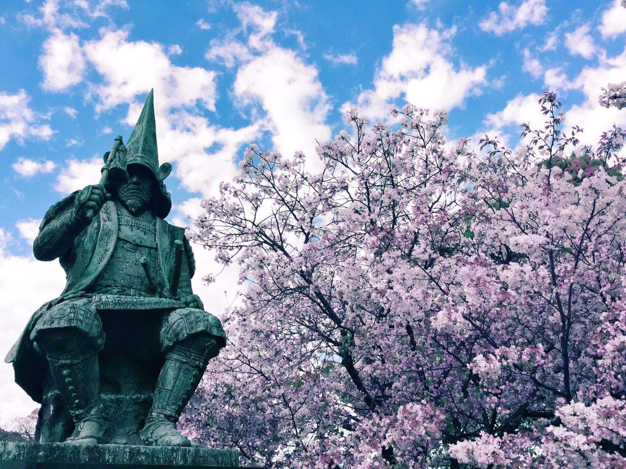 Cherry Blossoms Sky Cloud - Sky Day Statue Human Representation Outdoors Flower Kumamoto Japan Mobilephotography VSCO