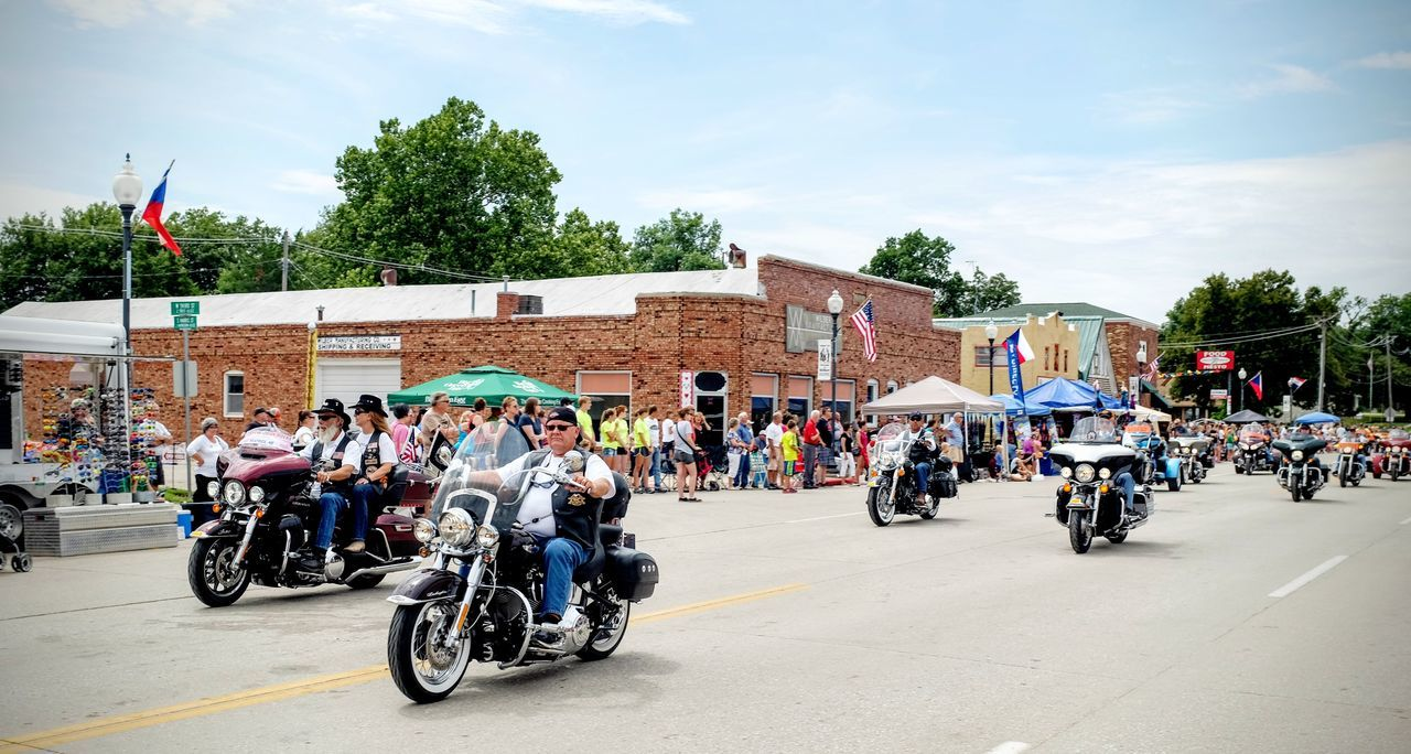 55th Annual National Czech Festival August 5, 2016 Wilber, Nebraska Americans City Life Color Photography Czech Days Czech Festival Event Group Of People Harleydavidson Land Vehicle Leisure Activity Lifestyles Main Street USA Midday Sunlight Mode Of Transport Motorcycle Club Motorcycles Nebraska Parade Parade Time Smal Town USA Small Town America Small Town USA Summertime The Way Forward Wilber, Nebraska