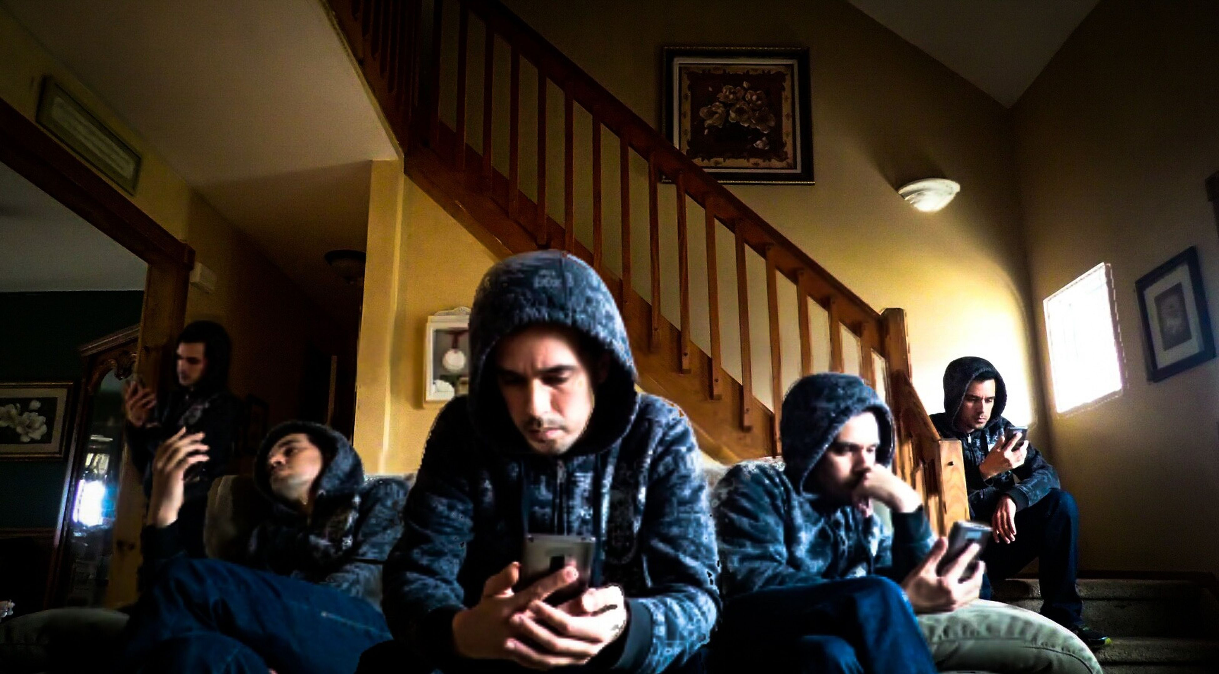 lifestyles, person, indoors, young men, young adult, portrait, looking at camera, leisure activity, casual clothing, smiling, happiness, front view, togetherness, bonding, mid adult men