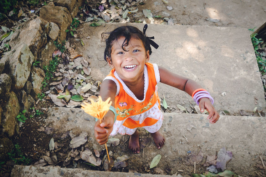 Cheerful Child Childhood Day Happiness High Angle View One Person Only Women Outdoors People Smiling