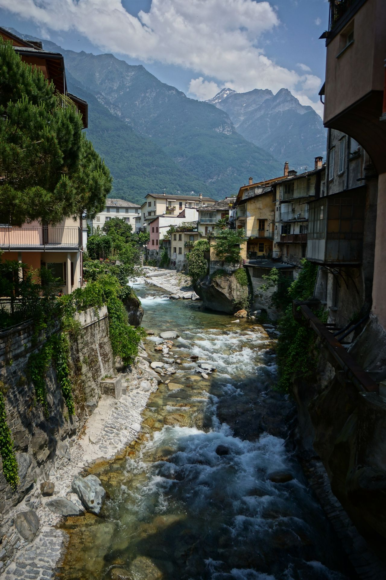 Chiavenna withe River Mera Architecture Building Exterior Built Structure Day Italy Landscape Lombardei Mountain Nature No People Outdoors Schweizer Alpen Sky Tree Village Water