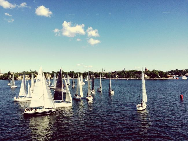 Going Sailing Regatta Starting A Trip Stockholm Harbor Ocean Ocean View Water Boat Summer Summertime Architecture Sun Race Traveling