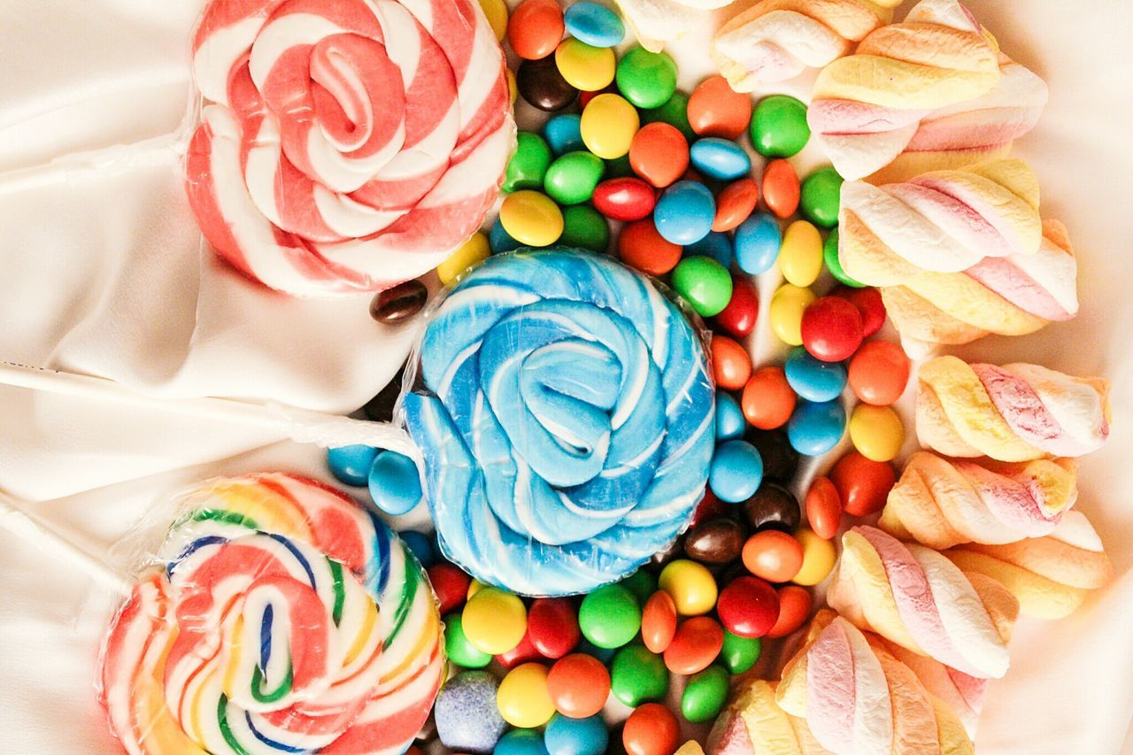Exploring Style Multi Colored Large Group Of Objects Variation Unhealthy Eating Sweet Food Close-up Indoors  Candies Obsession Junk Food Chocolate Covered Lollipop Marshmellows