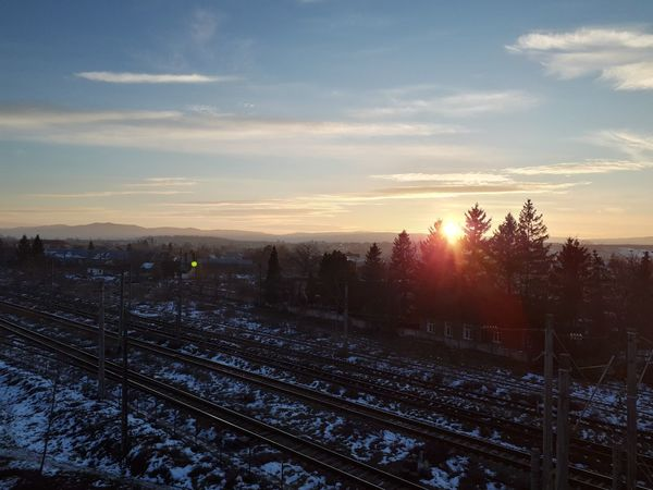 Rail Winter Winter Sunset City Shades Of Winter Sunset Winter Landscape Nature Outdoors No People Cold Temperature Sunlight Snow