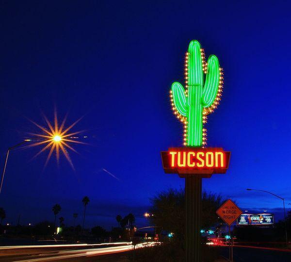 Neon Tucson Cactus City Desert Dusk Eric Barnes Photography Long Exposure Neon Sign Southwest  Tucson Arizona  Learn & Shoot: After Dark Photography In Motion Things I Like Blue Wave