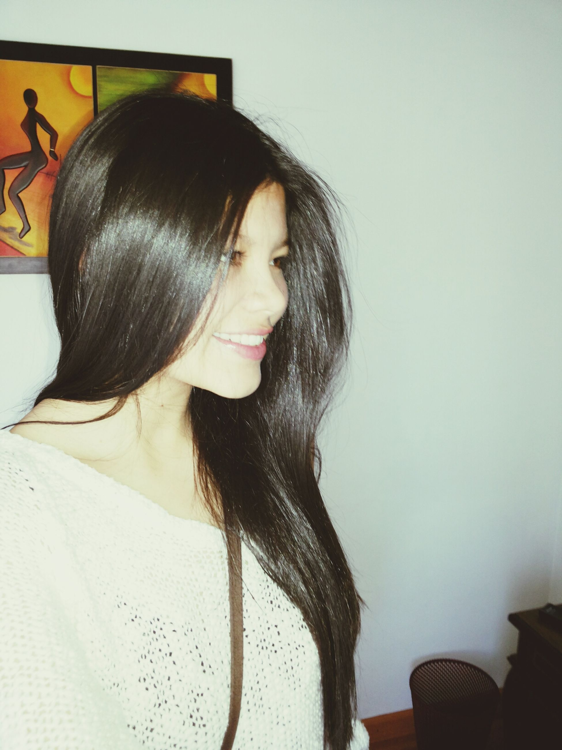 long hair, young women, young adult, lifestyles, person, indoors, headshot, black hair, leisure activity, front view, casual clothing, looking at camera, portrait, waist up, brown hair, medium-length hair, wall - building feature