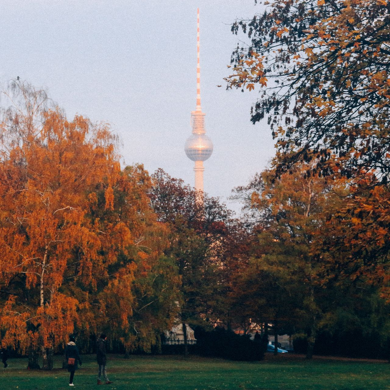 The Fernsehturm, from Tiergarten. Ironically, a cross shines very brightly when looking at the one landmark visible from Western Berlin, created by the GDR (who showed hostility towards any religious beliefs), as it reflects the last of the afternoon light. Berlin Tiergarten Autumn Tvtowerberlin Nature