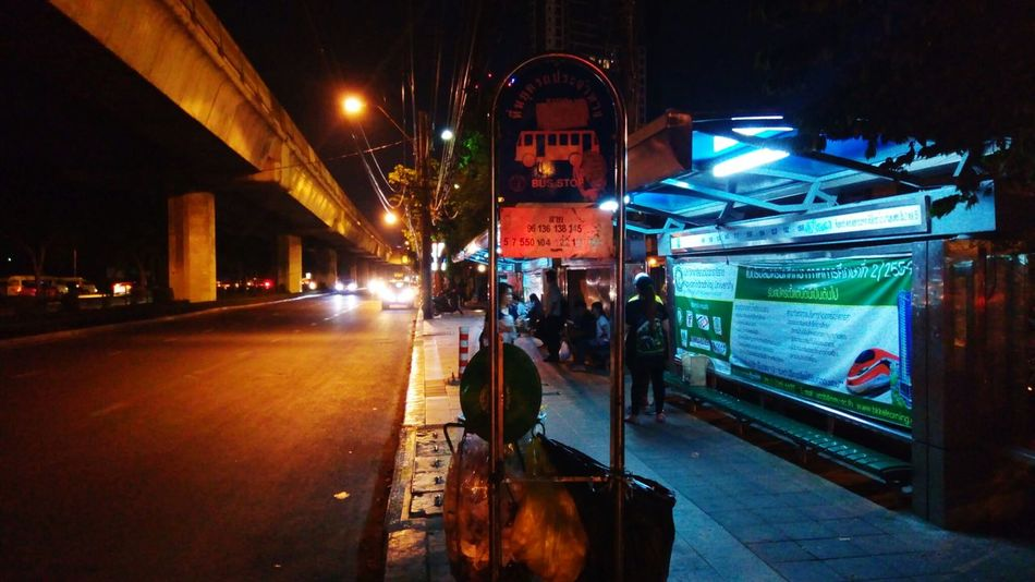 Night City Nightlife People Bus Stop Waiting For The Bus LongTime