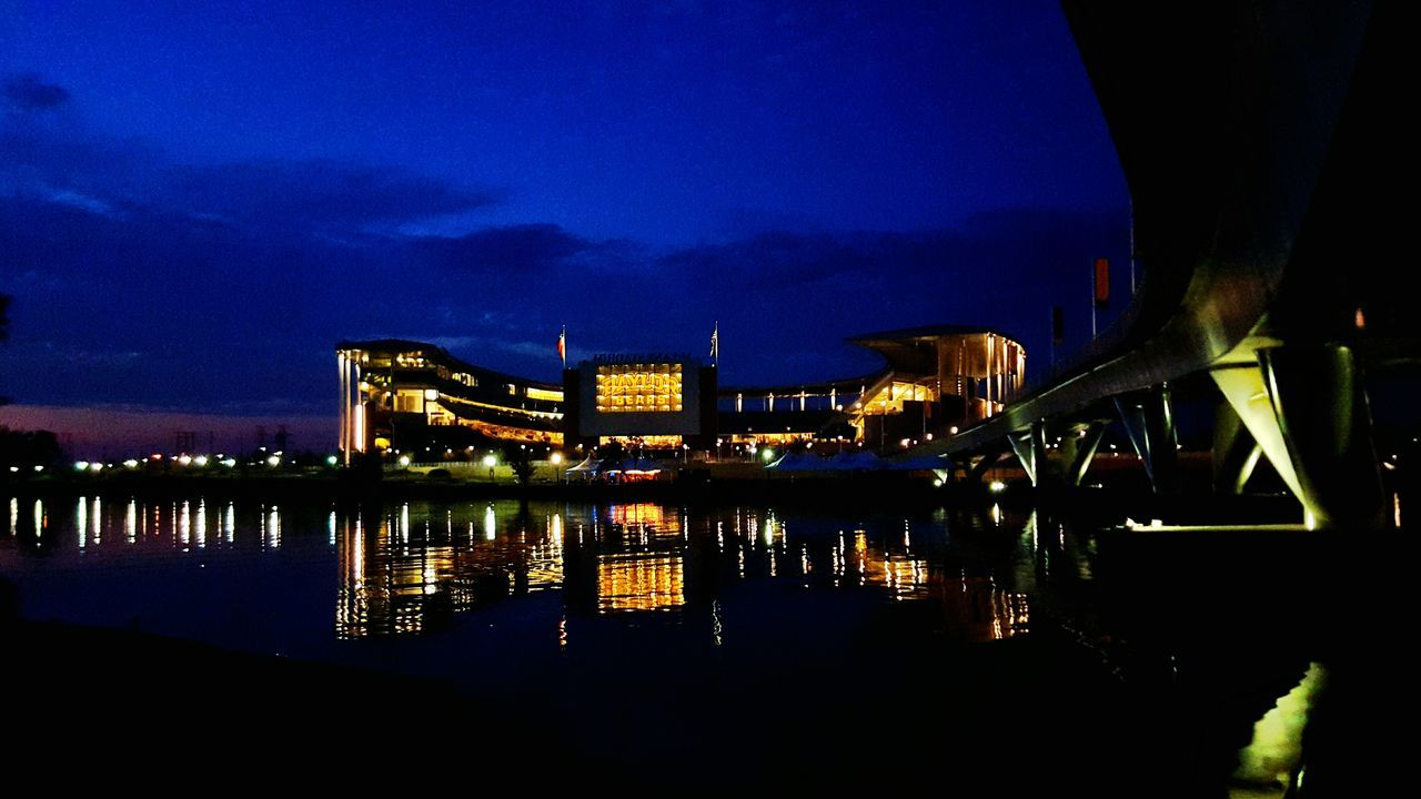 illuminated, night, water, architecture, sky, built structure, connection, river, bridge - man made structure, reflection, waterfront, travel destinations, outdoors, building exterior, no people, city, nature