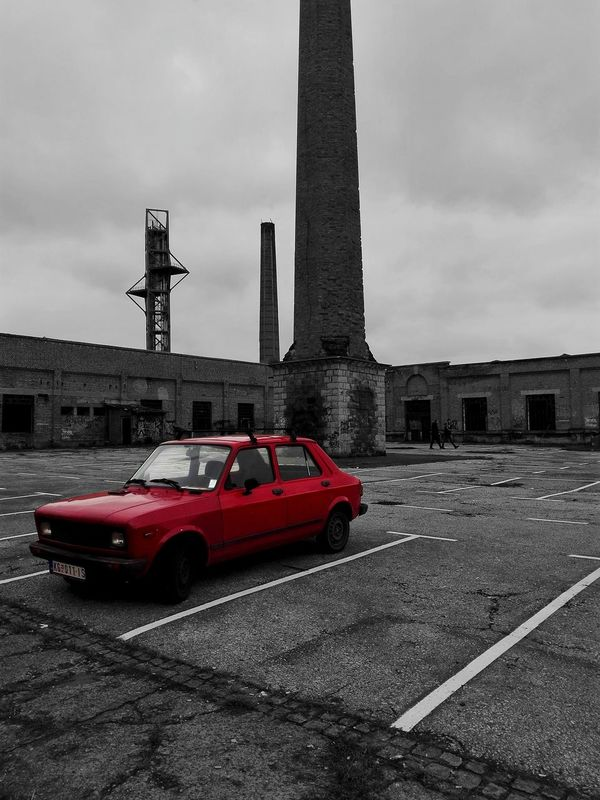Abadoned Abadonedplaces Architecture Car City Cloudy Day Detail Factory Grunge Moody No People Outdoors Red Transportation EyeEmNewHere Miles Away