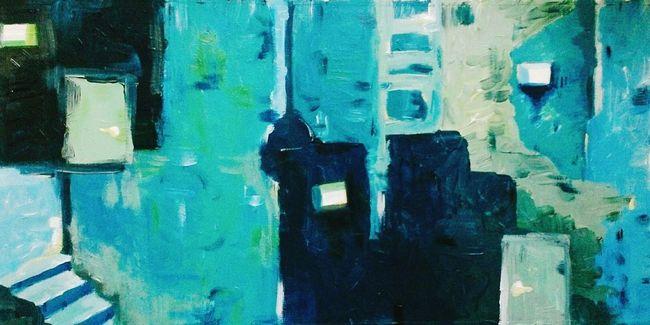 Painting Blues Art Color Door Creativity Forms Contrast Ilustration No People Abstract