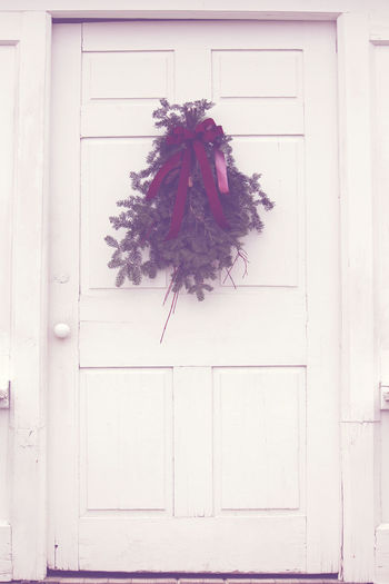 Welcome Christmas Bow Christmas Christmas Christmas Decoration Decoration Door Door To Home Door Way Festive Home Holidays Home Nature Outdoors Pine Boughs White Door Wreath