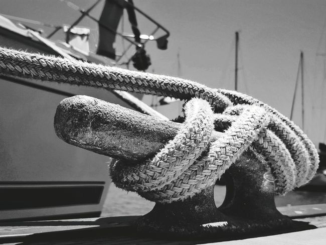 All Tied Up Blackandwhite Black & White Photography Is My Therapy Outdoors Sailing Ship Sailboat Close-up Rope Sail Away, Sail Away Rope Art EyeEm From My Point Of View Ropes Mooring Eye4photograghy Eyeemphotography ForTheLoveOfPhotography Eyeem Market Photography Is My Escape From Reality! Tied Knot Vessels Tied Perspective Monochrome Photography