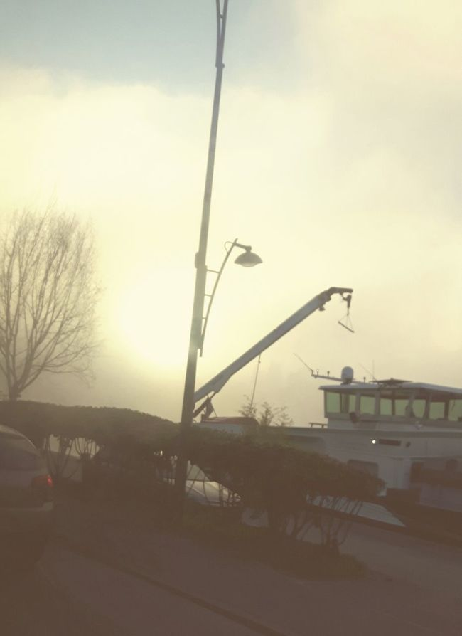 Fog Foggy Morning Along The River Barge Boat Electric Pole Crane Silhouettes Car Headlight Street Photography On The Way To Work Sunlight, Shades And Shadows Eye4photography  EyeEm Gallery EyeEm Nature Lover EyeEm Best Shots Conflans-Sainte-Honorine Yvelines France