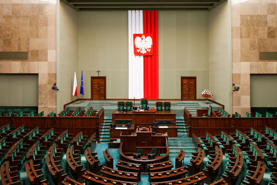 Sejm - Polish Parliament chamber Architectural Feature Backbenches Cross Eagle Empty Flag Green Interior No People Parliament Poland Repetition Sejm