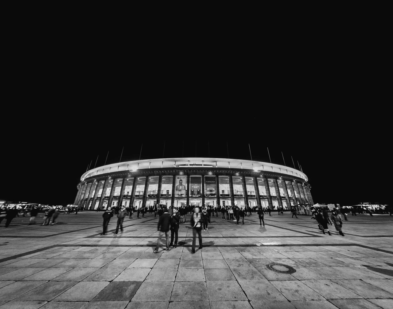 Architecture Architecture Berlin Black & White Black And White Blackandwhite Blackandwhite Photography Darkness And Light Football Stadium Hertha BSC Illuminated Lines And Shapes Night Old Buildings Olympiastadion Olympic Olympics Outdoors People Sport In The City Square Stadium Street Photography Streetphoto_bw Streetphotography