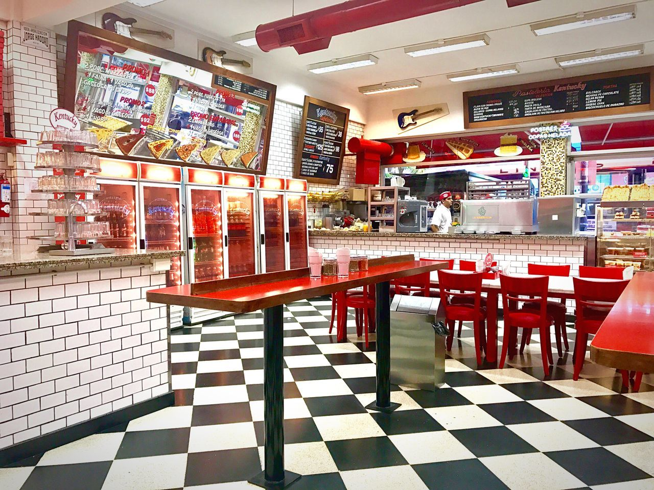 Red Store Tiled Floor Indoors  No People Architecture Day Pizzeria Kentuky Buenos Aires Argentina Pizza Argentina Buenos Aires, Argentina  Pizzeria Old Style Decoration Sixties Style Sixties