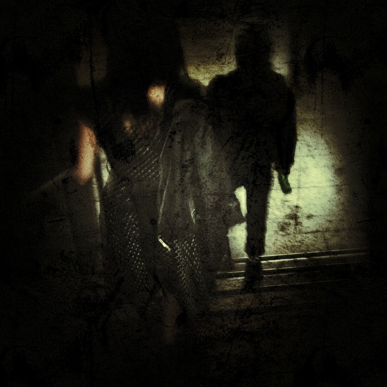 horror, spooky, walking, indoors, night, full length, two people, standing, men, real people, shadow, halloween, people