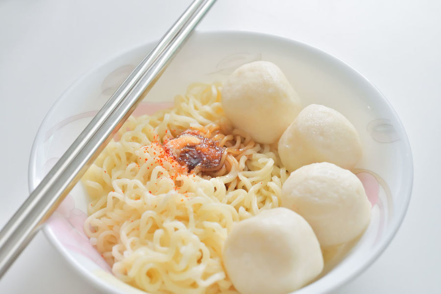 A Humble Bowl Of Instant Noodles And Fish Balls Asian Food Bowl Bright Chopsticks Close-up Comfort Food Fish Balls Food Frugal Humble Humble Meal Instant Noodles No People Noodles Simple Food Simple Meal
