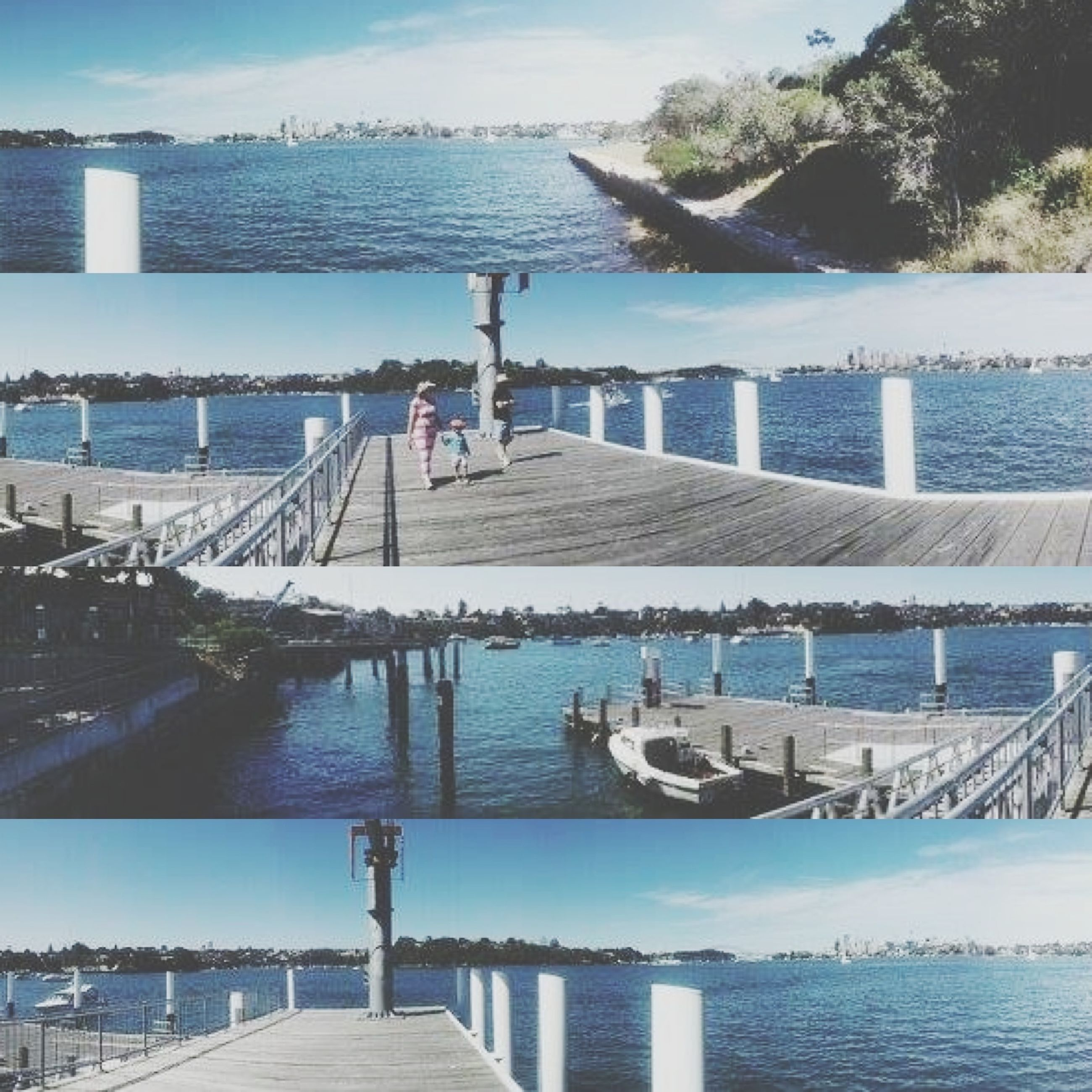 sea, water, pier, sky, built structure, beach, railing, blue, tranquil scene, horizon over water, nature, tranquility, scenics, architecture, beauty in nature, sunlight, travel destinations, day, incidental people, outdoors