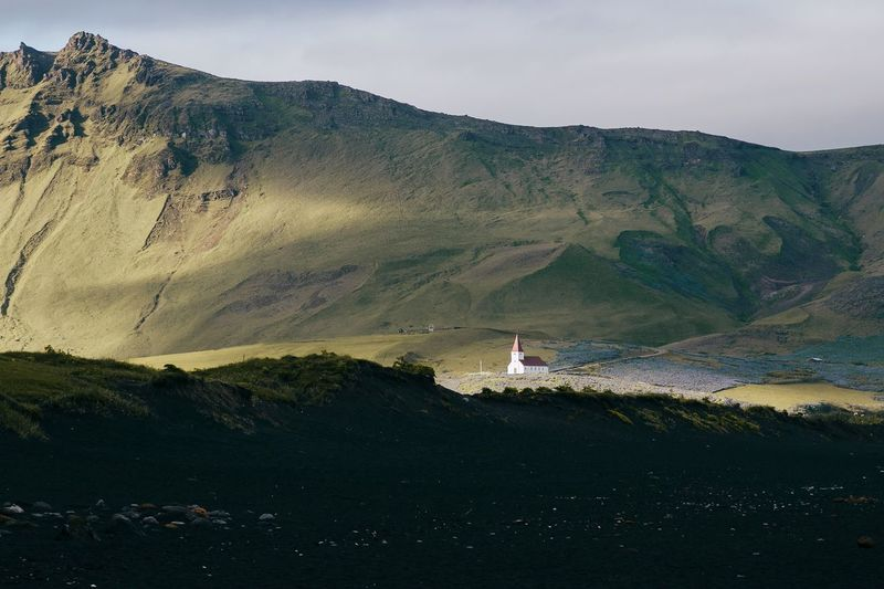 Mountain Landscape Scenics Tranquil Scene Beauty In Nature Mountain Range Tranquility Outdoors Nature Church Sun Light And Shadow Light Beach Black Sand Beach Iceland