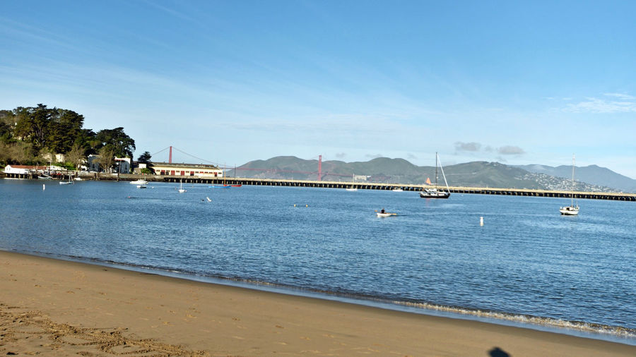 Golden Gate Bridge_San Francisco 1 Aquatic Park Beach Hyde St. Jefferson St. Scenic Waterfront Park Sailboats Sea Wall Color: International Orange Opened: 1937 Golden Gate Strait Golden Gate Bridge