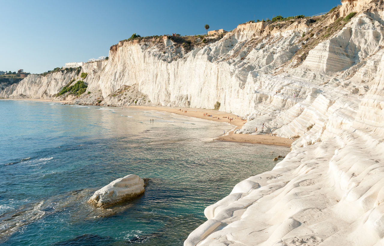 "The white cliff called ""Scala dei Turchi"" in Sicily, near Agrigento Agrigento Bay Beach Cliff Cliffs Coast Coastline Italy Landmark Landscape Limestone Mediterranean  Nature Realmonte Rocks Scala Dei Turchi Sea Seascape Sicily Spectacular Stair Of The Turkish Staircase Summer Touristic White"