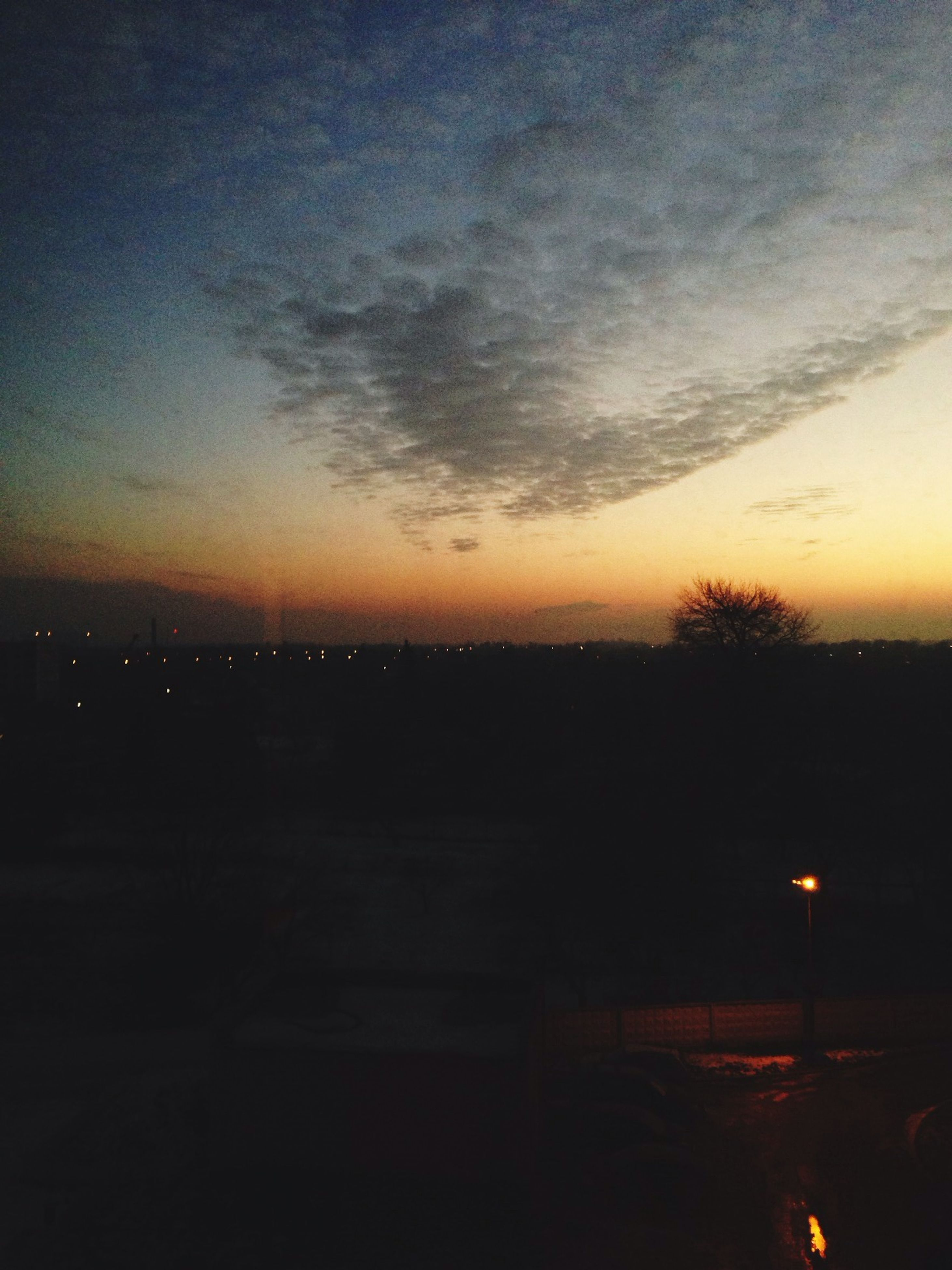 night, silhouette, dark, sky, copy space, dusk, illuminated, weather, tranquility, nature, transportation, fog, scenics, outdoors, tranquil scene, beauty in nature, no people, street light, low angle view, sunset