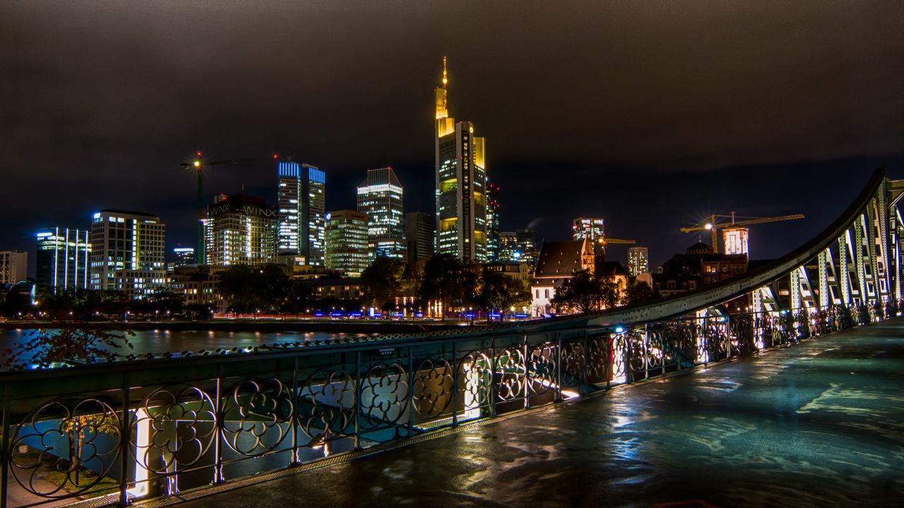 Bridge Buildings Frankfurt Am Main HDR Main Sightseeing Skyline Traveling