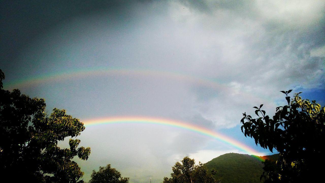 Colour Of Life Double Rainbows Rainbow Mountains Trees Clouds Rain