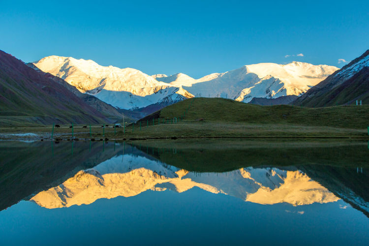 Kyrgyzstan Pamir Mountains Beauty In Nature Dawn Day Lake Mountain Mountain Range Nature No People Outdoors Pamir Reflection Scenics Sky Sunrise Tranquil Scene Tranquility Water