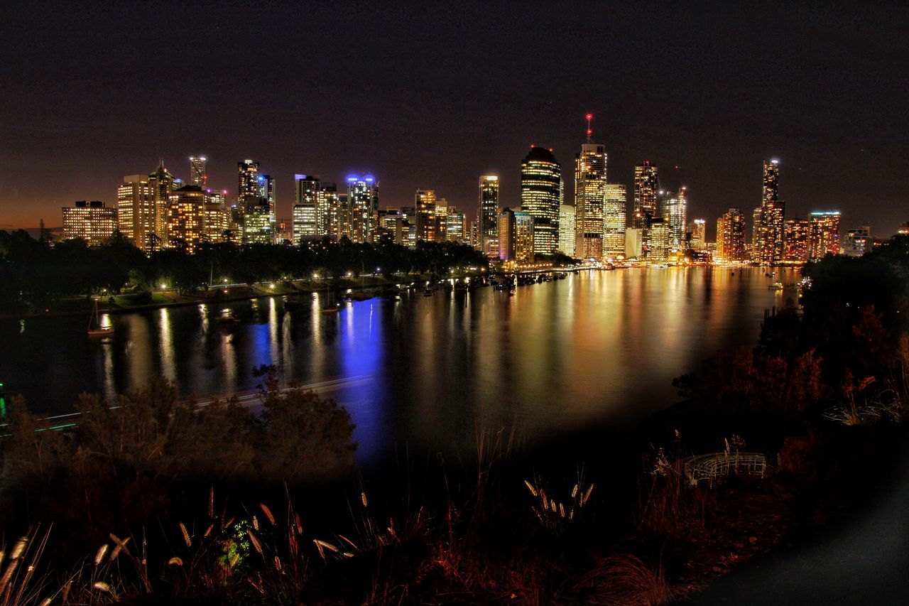 Brisbane City lights reflecting in the Brisbane River Canon Long Exposure Water Reflections Australia Water Queensland Water_collection Brisbane EyeEm Best Shots - Sunsets + Sunrise River