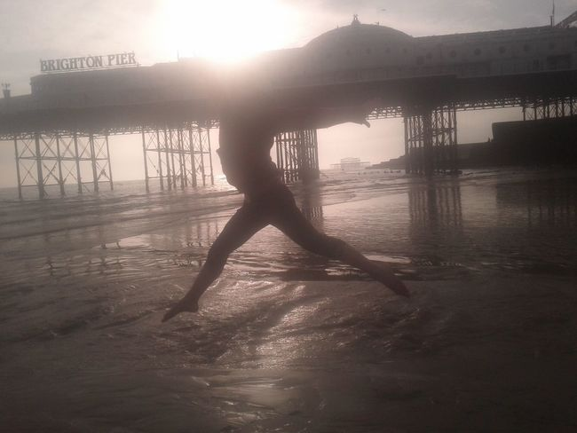 Happy times,fun,seaside,Brighton,camp,dancer,freedom,happy ,leap,beach,pier, Silhouette Water Outdoors Graceful day out, bye the sea , a day il never forget, No Filter, No Edit, Just Photography