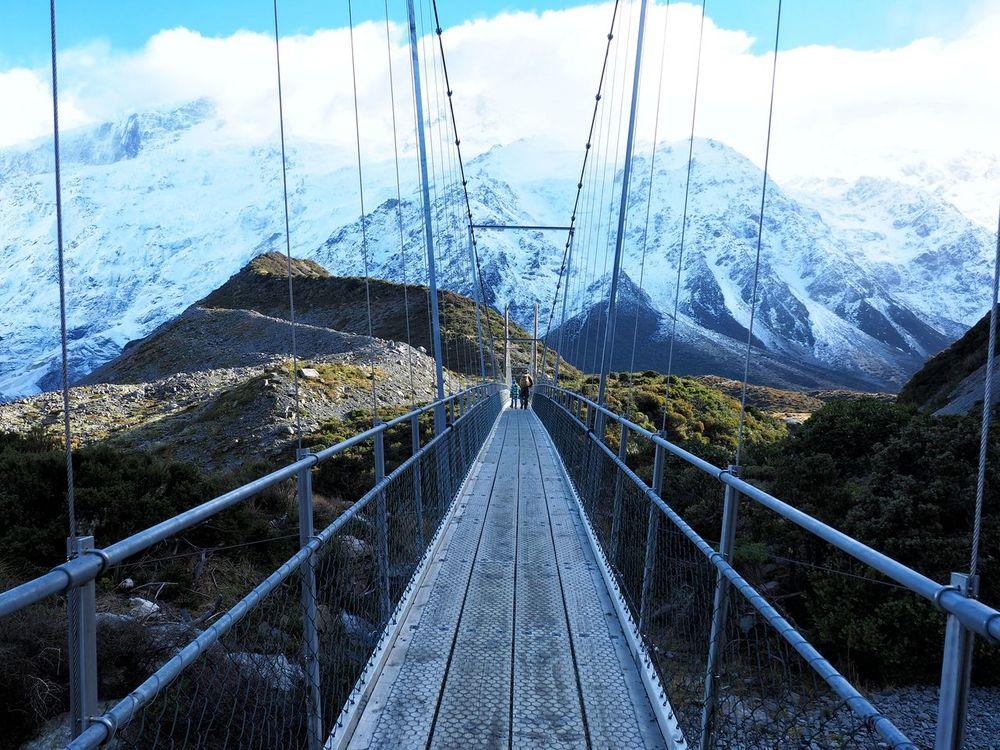 Bridge Cloud Connection Diminishing Perspective Engineering Landscape Mountain Range Outdoors Tasman Glacier Area Vanishing Point