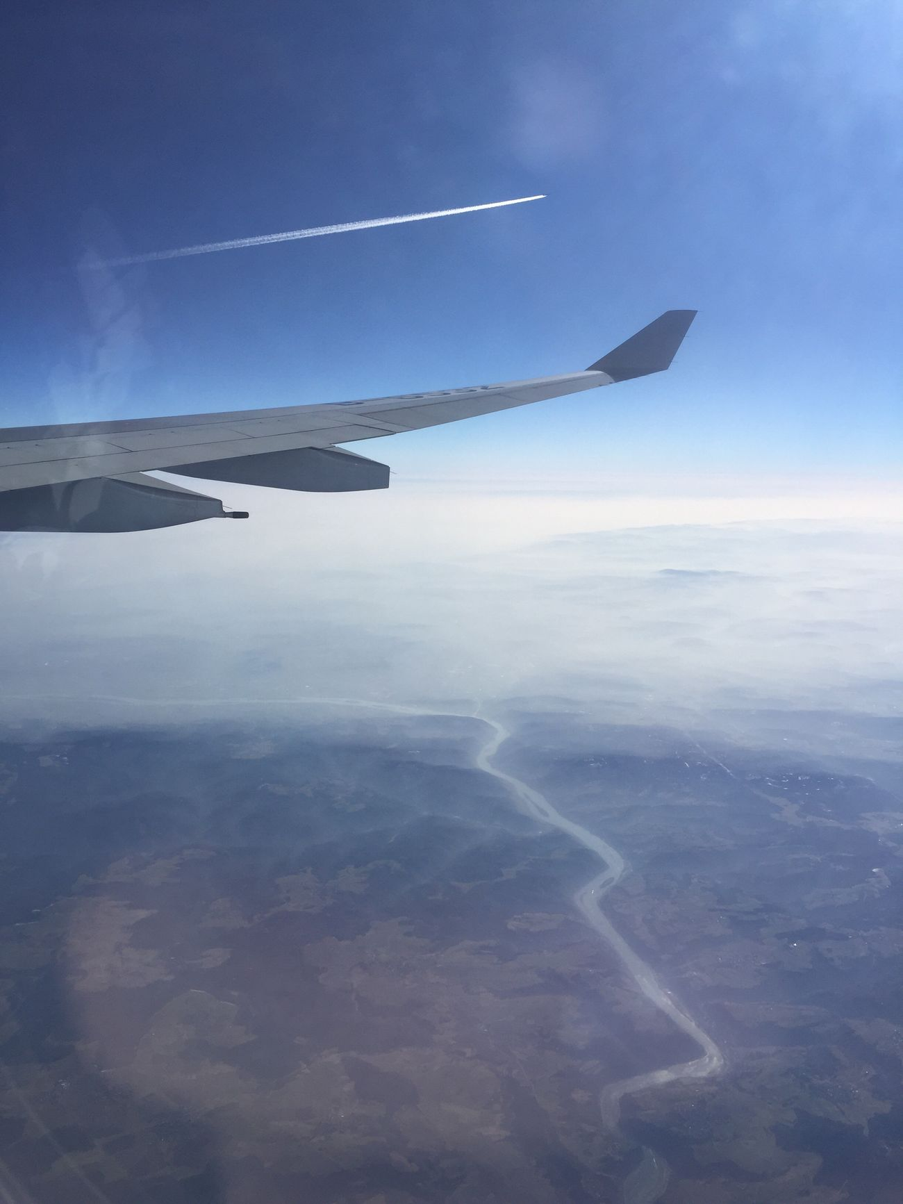 Flying High face of the world from above Airplane Flying Airplane Wing Travel Landscape