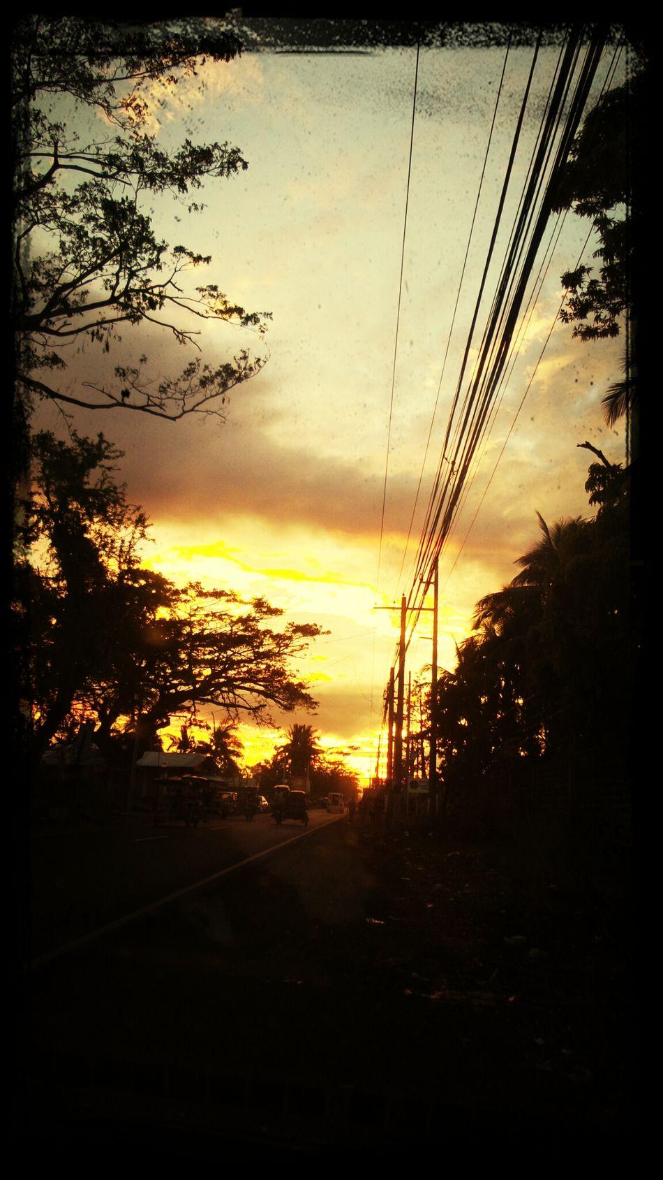 burning Sky On The Road Sunset