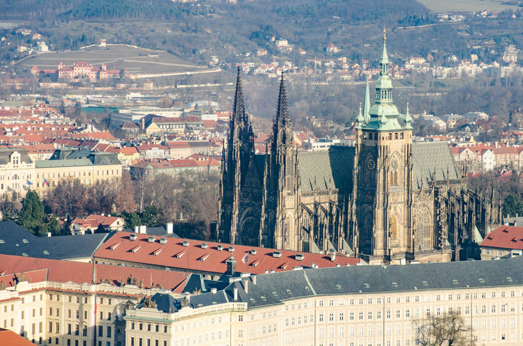 St Vitus Cathedral Prague Architecture Bridge Building Exterior Built Structure City Cityscape High Angle View St Vitus Cathedral
