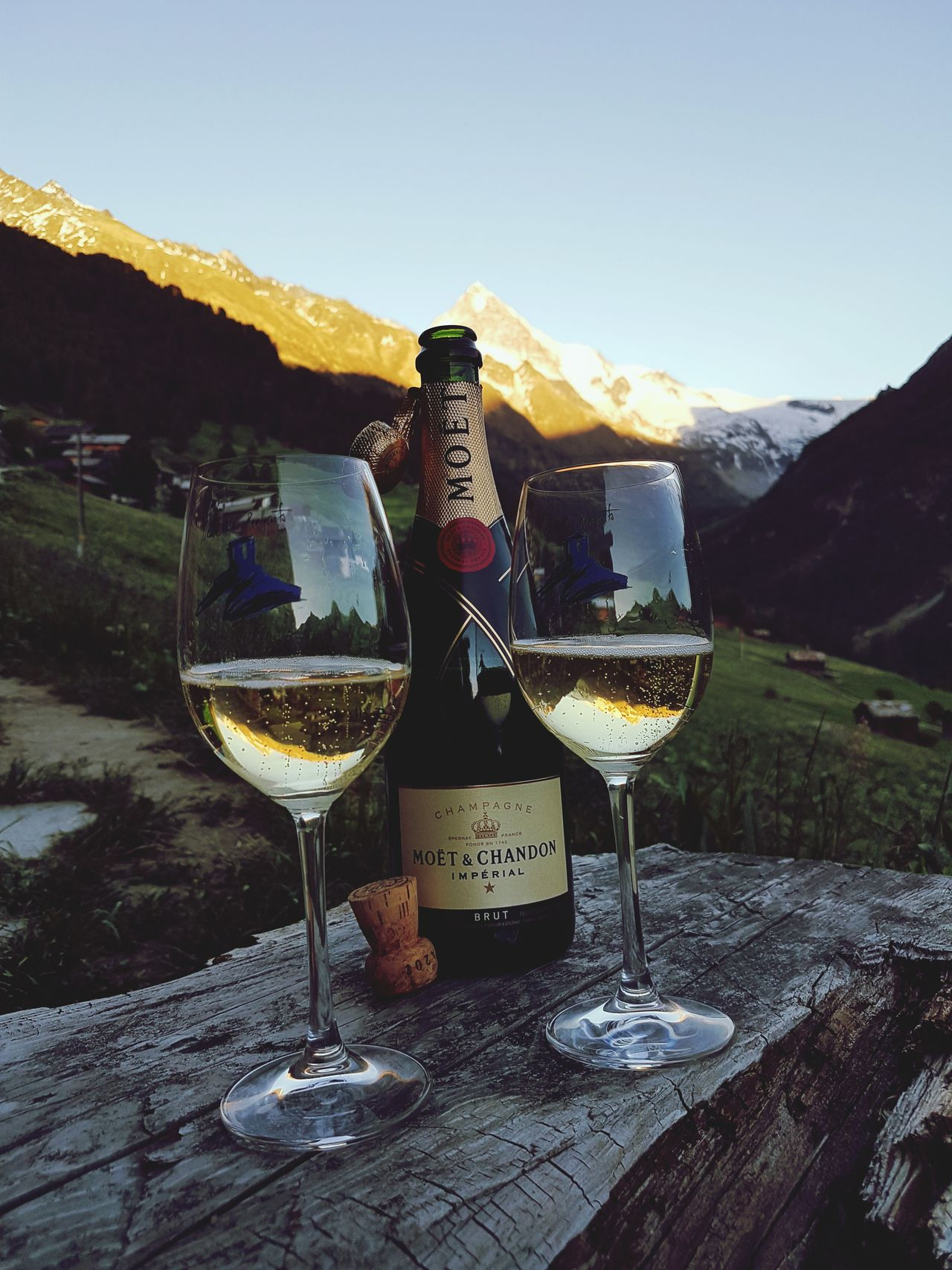 Happy birthday! Alcohol Drink Champagne Champagne Flute Celebration Mountain Drinking Bottle Champagne Outdoors Bottle Holiday Food And Drink Wine Cork Moet & Chandon Champagne Brut
