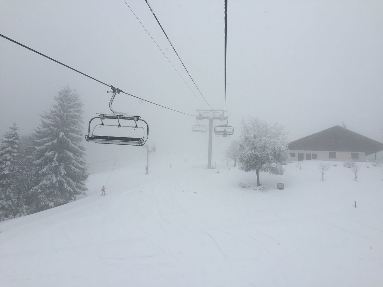 Overhead Cable Cars On Snow Covered Landscape