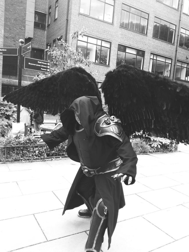 Angel Wings Cosplay Cosplaying Blackandwhite Comic Con Black And White People Photography People