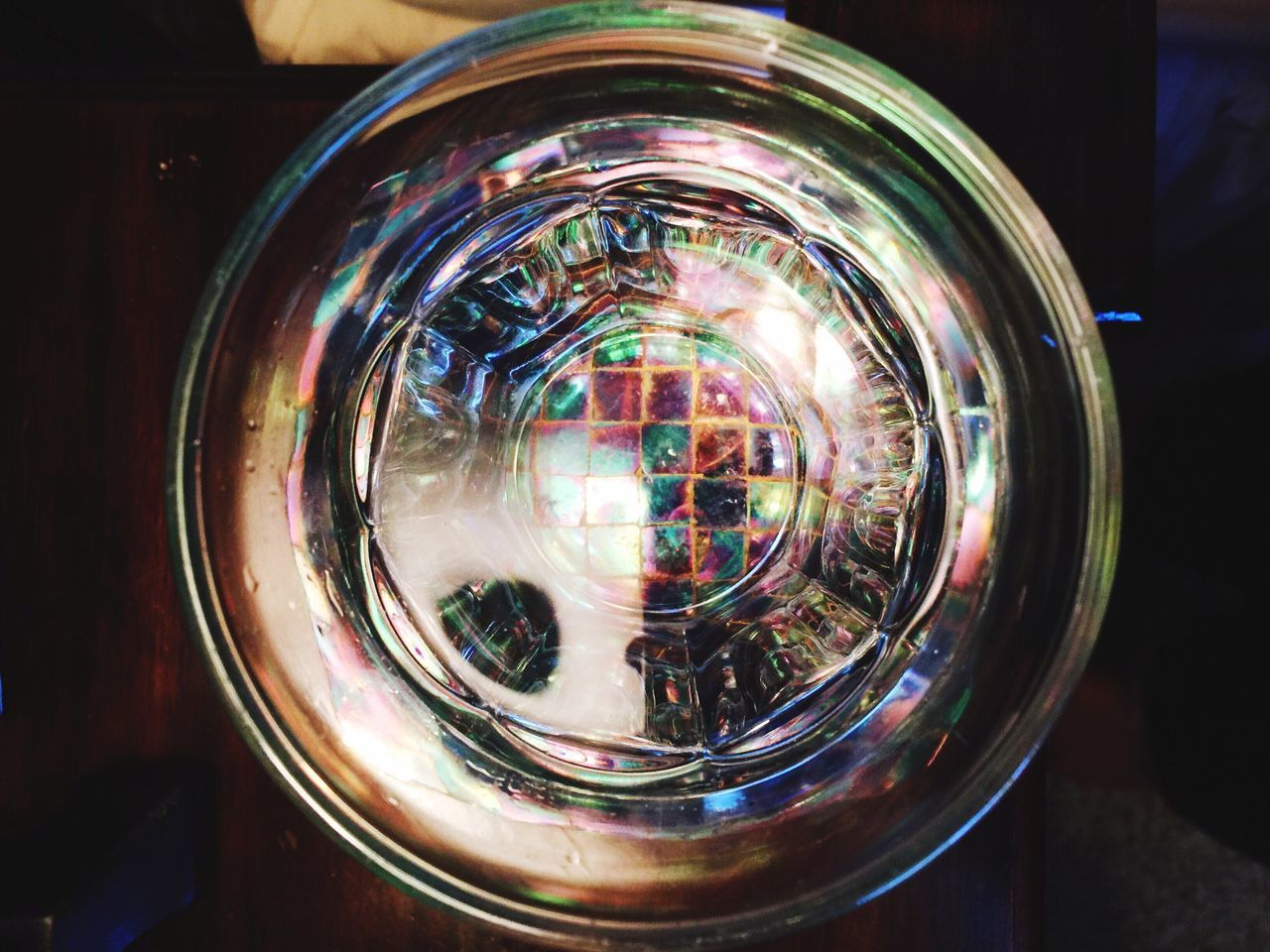 Water Glass on Coaster Colorfull Color Play On Nightstand Cindy Greenstein Photography Light And Love EyeEm Gallery Cindy Greenstein Photography IPhoneography IPhoneArtism Iphone6+ Iphone6splus Photo Art Pattern Pieces Patterns & Textures