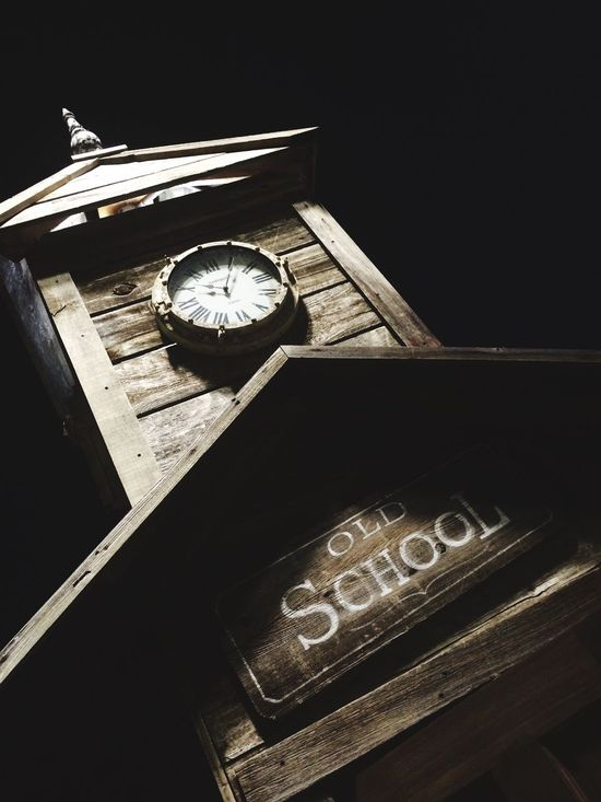 Old School Old Schoolhouse  Old School! Night Night Photography School SchoolHouse School House Wood Wooden Vintage Clock Clock Tower Clocktower